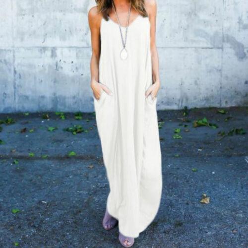 Women/'s Maxi Dress Long Casual Sleeveless Cami Loose Flowy Boho Summer Plus Size