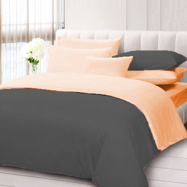 Solid Reversible Duvet cover with PilIowcase 100/% Egyptian Cotton All Size/&Color