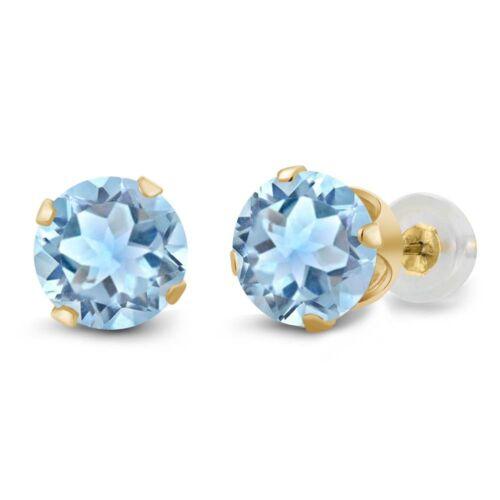 1.50 Ct Round Sky Blue Aquamarine 14K Yellow Gold 4-prong Stud Earrings 6mm