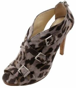 Enzo-Angiolini-Echer-Grey-Women-039-s-Animal-Print-Open-Toe-Fashion-Heels-Size-7-5