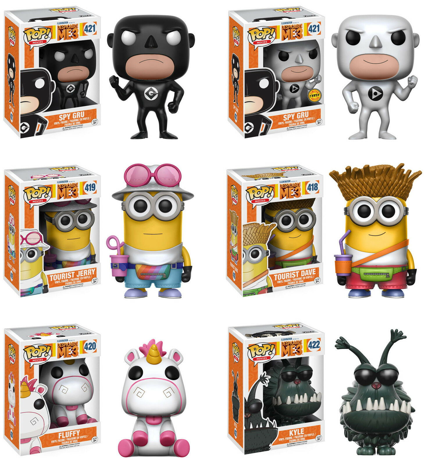 Funko POP  Movies  DESPICABLE ME 3 VINYL FIGURE SET w/CHASE  Spy Gru, Fluffy++