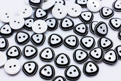Flower Button Black And White Two Holes Round Shape Small Children 12mm 20pcs