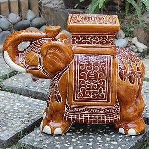 Large Porcelain Elephant Stool Falling Brown 700493939459