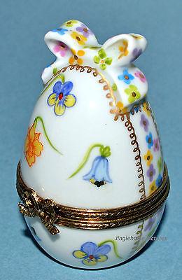 NEW! Limoges Porcelain French FLORAL EGG w/ BOW Trinket Box CHAMART 22K Easter