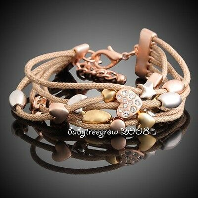 18K Rose Gold GP Heart Star Swarovski Crystal Rope Fashion Bracelet 250