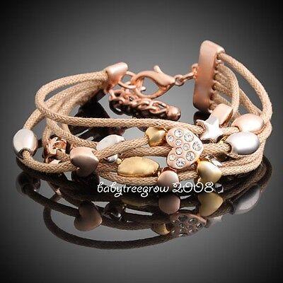 18K Rose Gold GP Heart Star Swarovski Crystal Rope Fashion Bracelet 250
