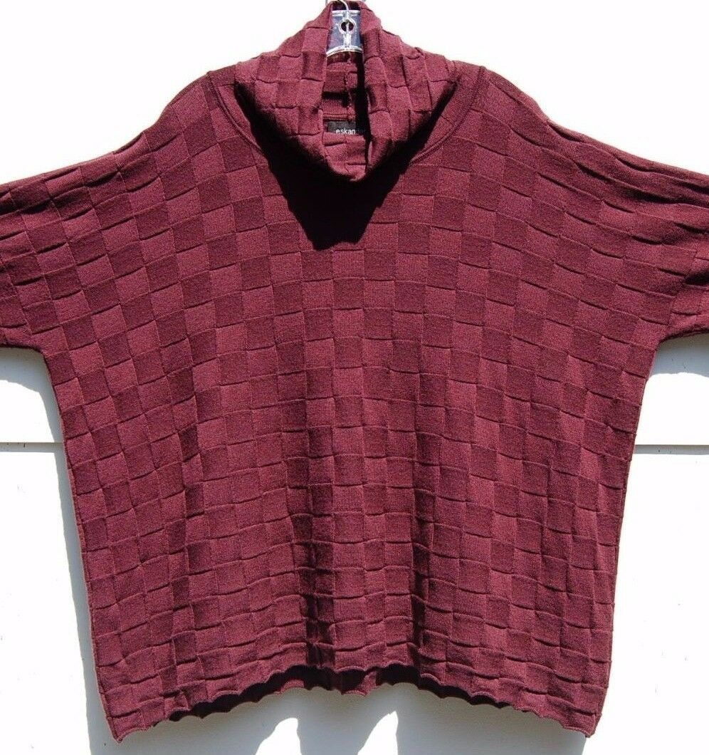 NEW Eskandar BURGUNDY Light Weight Weight Weight Merino Wool Basket Square Knit Sweater  1295 2c404c