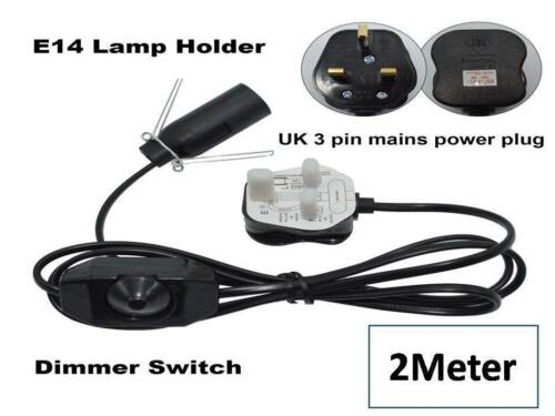 3 X Salt Lamps Lead Replacement Electrical Cord with Dimmer/&bulb UK Pin 2M
