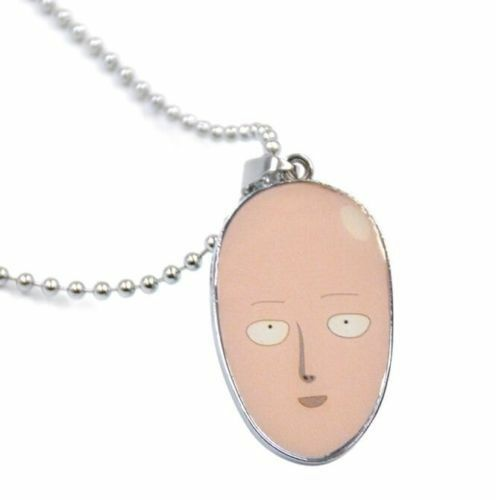 Japanese Anime One Punch Men Saitama Egg Pendant Necklace Metal Chain Cosplay t