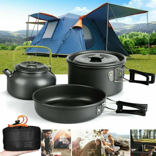 Portable Camping Cookware Tools Kits Hiking Picnic Pots Pans Kettle Tableware
