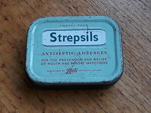 Small VINTAGE STREPSILS TIN. Boots, Retro. Nice Condition Item