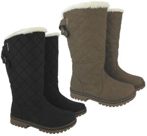 Ladies Warm Shoes Grip Fur Womens Quilted Sole Boots Details Winter Mid Zu Snow Calf New 1ul5TJ3cFK