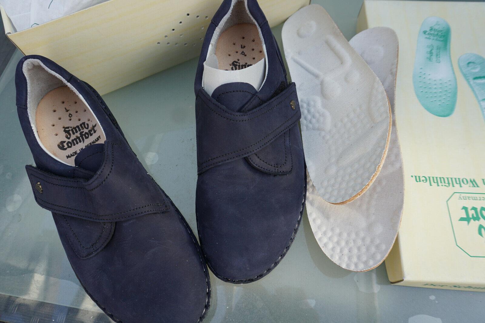 Finn Comfort Villach zapatos señora zapato velcro talla talla talla 5,5 39 nobuck cuero darkazul nuevo  ventas de salida