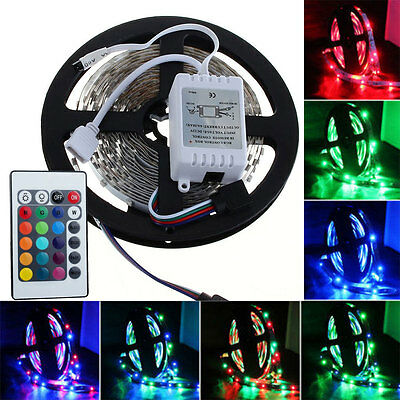 Decorate 5M RGB SMD 3528 300 LED Flexible Strip Light with 24 IR Remote DC 12V