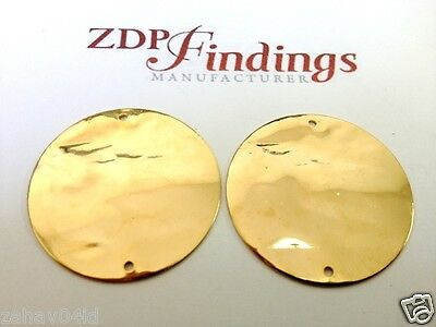 6pcs Discs 30mm Brushed Hammered Gold plated Connector  with 2HoleS (9302H2BGP)