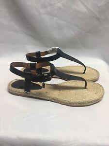 Details about Coach Breeze leather Espadrille Thong Sandal A01970 Black 5.5M,7.5M, NIB