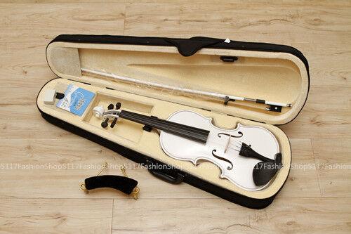New 1 8 white Violin-student violin  +Case Bow FREE