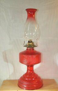 VTG-P-amp-A-Mfg-Ruby-Red-Eagle-Glass-Kerosene-Oil-Hurricane-Lamp-With-Chimney