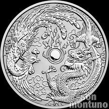 DRAGON & PHOENIX - 1 oz Silver BU Coin in Capsule - 2017 AUSTRALIA $1 Perth Mint