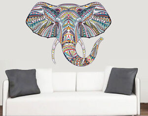 colourful patterned elephants head wall art vinyl stickers african