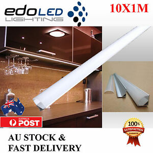 10X1M Corner Alloy channel Silver Aluminium bar Led Strip Light Cabinet Kitchen