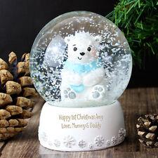 PERSONALISED Blue Bear Snow Globe - Boys Gift  - Baby Christening or Birthday