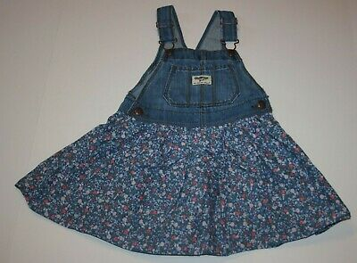 New OshKosh Girls Jumper Dress Overalls Soft Blue Floral Skirt NWT 2T 3T 4T 5T