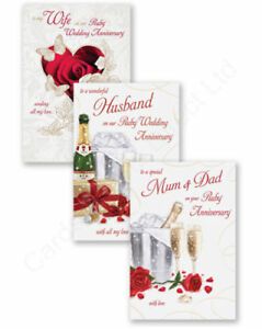 40th ruby wedding anniversary card husband wife mum dad ebay