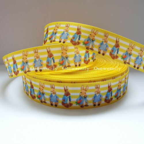 PETER RABBIT Printed Grosgrain ribbon 22//25mm Per Metre BEATRIX POTTER