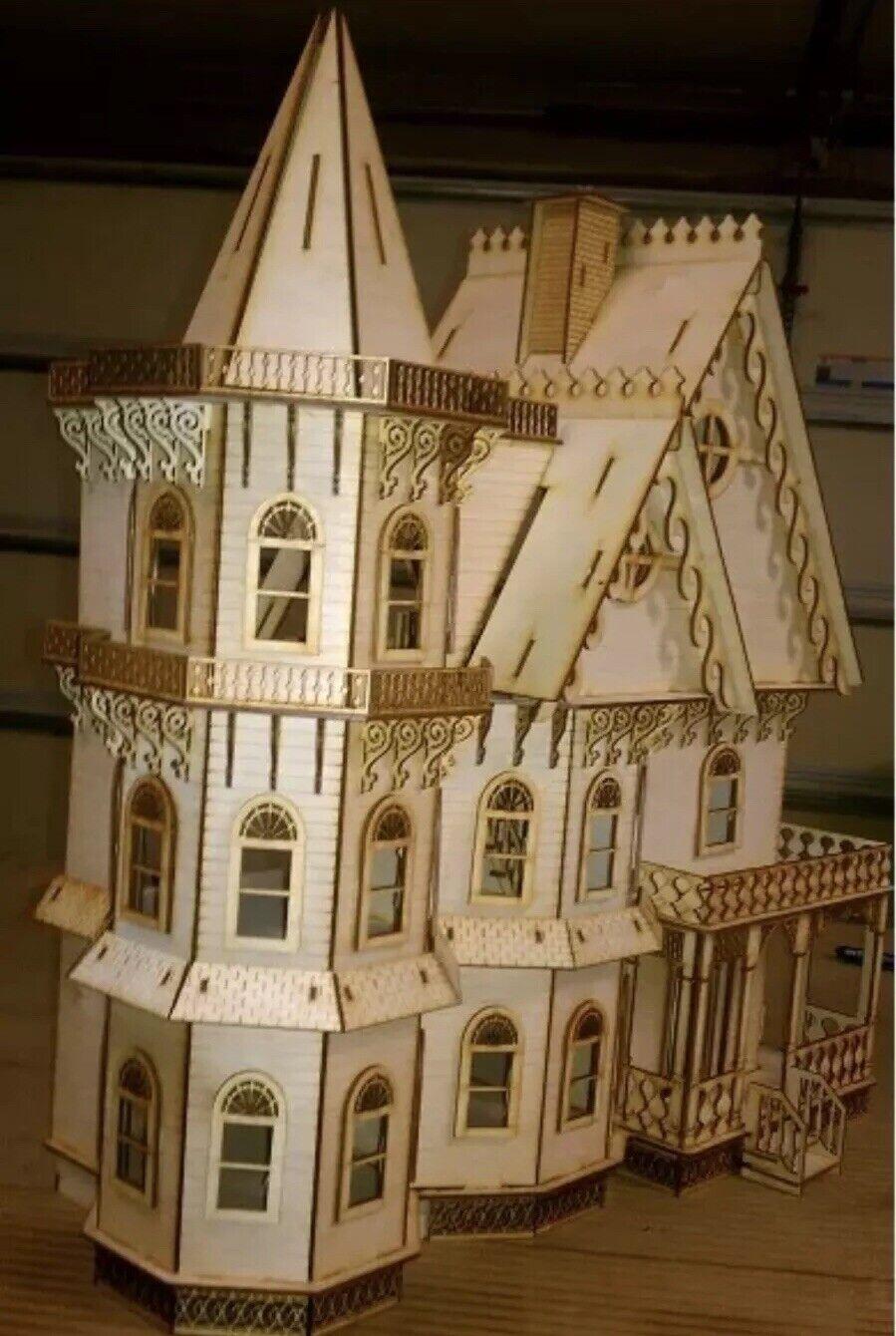 Leon mansión Victoriana Gótica Casa De Muñecas media pulgada 1 24 Escala Kit