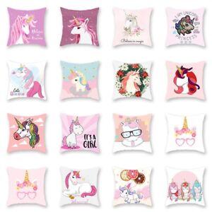 17-034-Girl-Unicorn-Throw-Pillow-Case-Cushion-Cover-Gifts-Home-Sofa-Car-Waist-UK