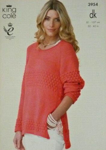 KNITTING PATTERN Ladies Cable Jumper /& Cardigan Cottonsoft DK King Cole 3954