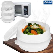 HEALTHY LIVING MICROWAVE 2 TIER STEAMER COOKER FOR VEGETABLE RICE PASTA COOKING