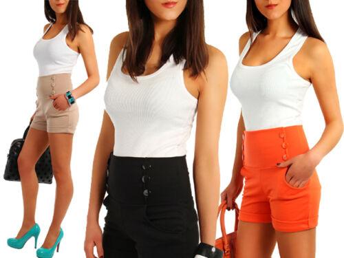 Womens High Waist Shorts Ladies Trousers Multicolours Girls Sizes UK 8-12 FA08