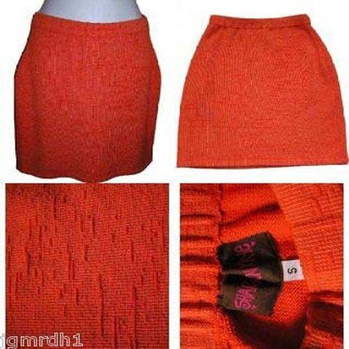 New SHARON KAYE bright orange sweater knit skirt S straight pencil