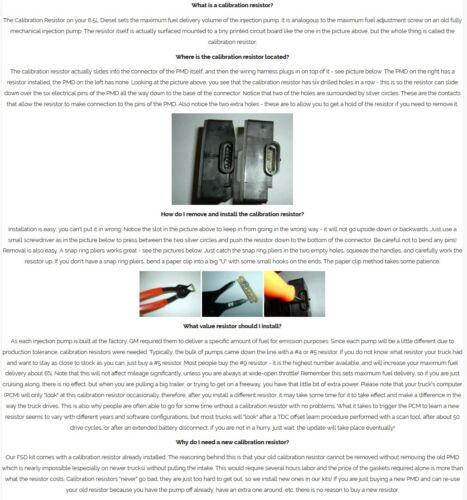 Calibration resistor 6.5 6.5L Diesel PMD # 9 # 5 +