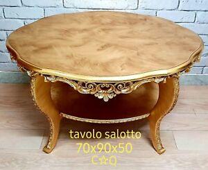 Tavolini Da Salotto Antichi.Dettagli Su Tavolo Da Salotto Antico Tavolino Da The Oro Barocco Piano In Legno