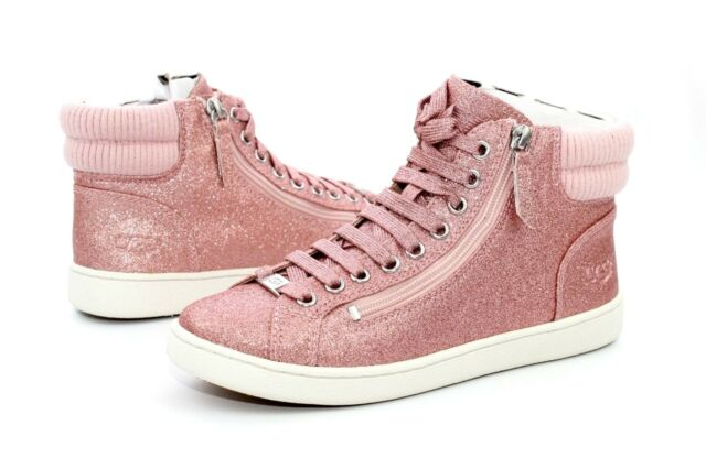 3a7af980df8 UGG Olive Glitter Rib Knit Collar Pink High Top SNEAKERS Size 9.5 US