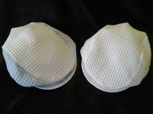 Fabriqué au Royaume-Uni Twin Pack 100/% Coton Gaufre Caps-Blanc /& Bleu ciel//blanc