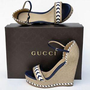 GUCCI New sz 39 9 Designer Platform Wedge Heels Womens ...