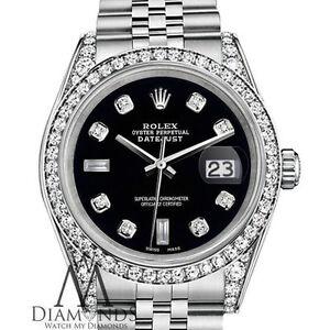 Donna Nero Rolex 26mm Datejust Giubileo Argento Sterling Braccialetto Personalizzato Diamond Watch