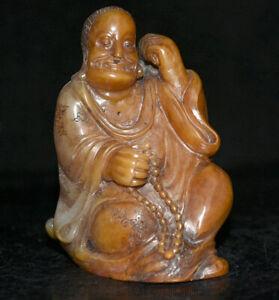 "4 ""Vieux chinois naturel Shoushan pierre Damo Bodhidharma Dharma Bouddha Statue"