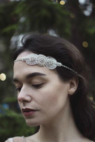 Silber Strass Stirnband Vintage 1920s Jahre Braut Ball Great Gatsby Flapper Deko