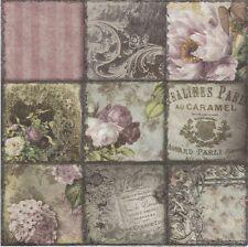 2 Serviettes en papier Décor Fleuri Rose - Paper Napkins Vintage Collage Paris