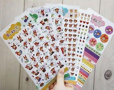 Korea Jetoy Cute Rabbit Girl PVC Diary Decoration Sticker 6 Sheets NEW
