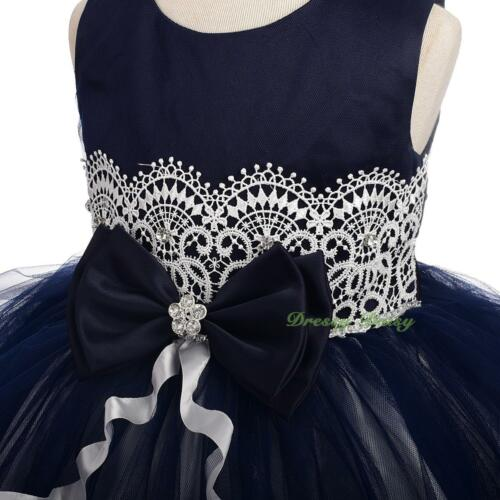 Diamante Lace Ribbon Tulle Party Wedding Flower Girl Formal Dress Size 0-4 FG378