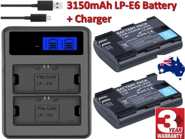 LP-E6 3150mAh Battery + LCD Dual FAST Charger For Canon EOS 80D 70D 7D 60D 6D 5D