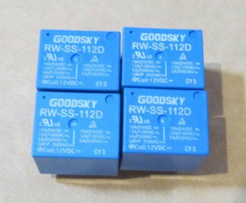 4 GOODSKY RW-SS-112D SPDT RELAYS 10A//24VDC 12A//120VAC 5A//250VAC 12VDC COIL 5-PIN