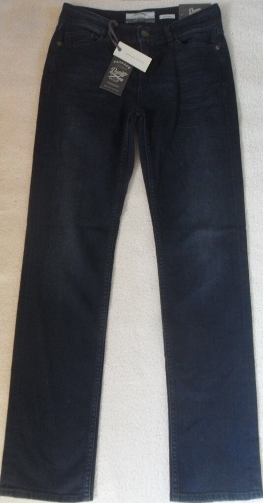 EX FAT FACE INDIGO DENIM BRUSHED OVERDYE COTTON STRETCH STRAIGHT LEG JEANS 6S 8R