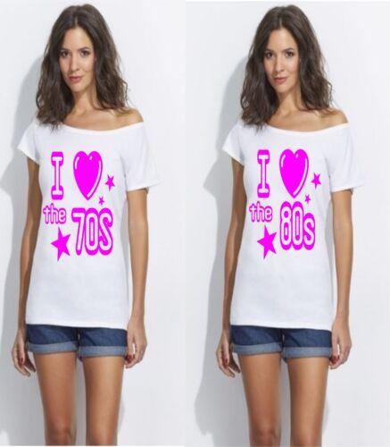 I LOVE THE 1980`S.1970`S 1960`S /& 1990`S SLASH NECK T SHIRT SIZE S to 3x